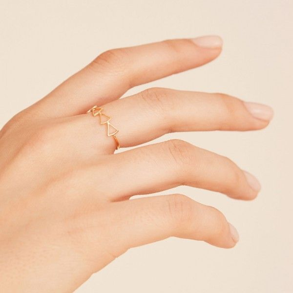 Hollow gold ring hand 2