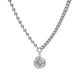Compass silver necklace