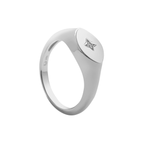 Star silver signet ring
