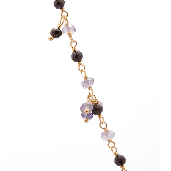 Black Spinel Pearl Gold necklace detail