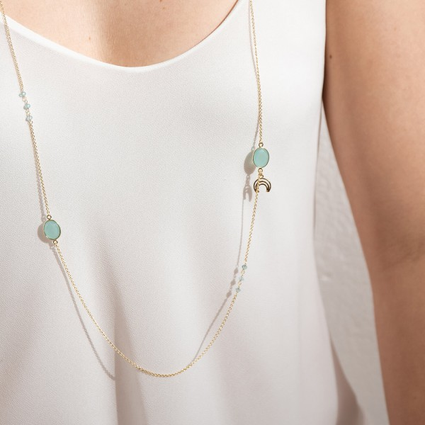 Aqua Long Gold necklace model