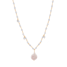 Aquamarine Pearl Gold necklace