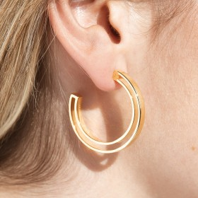 Gold minimalist hoop earrings Boss detail