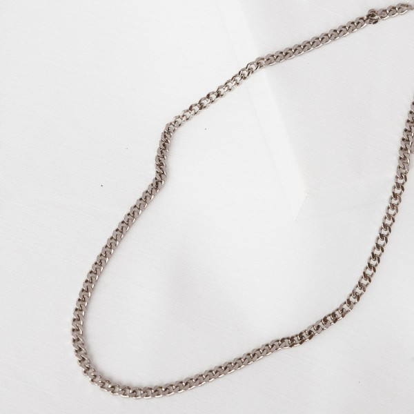 Silver link chain necklace detail