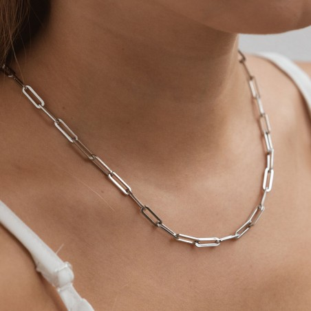 Big silver link chain necklace