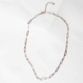 Big silver link chain necklace detail