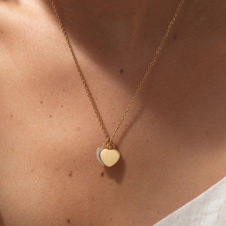 gold nacre heart necklace